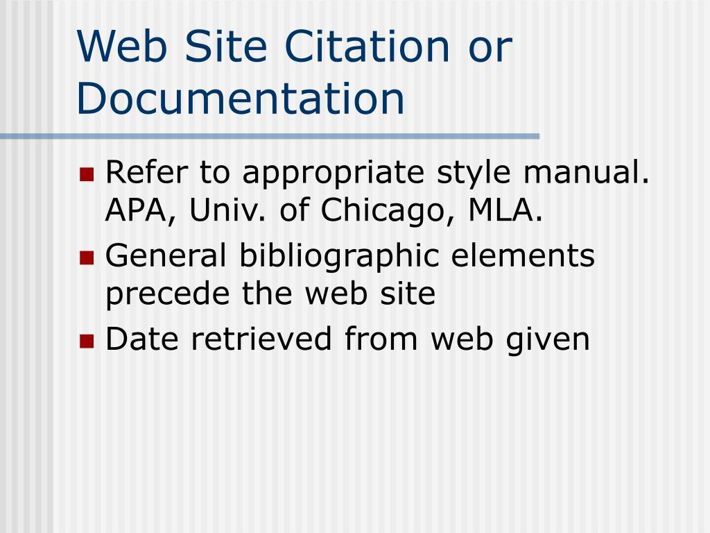 Web Site Citation or Documentation
