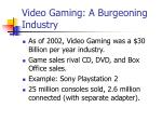 video gaming a burgeoning industry
