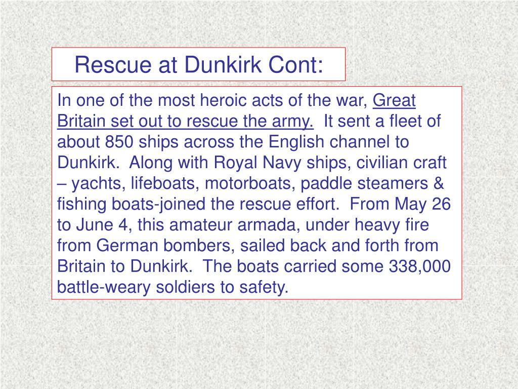 Rescue at Dunkirk Cont: