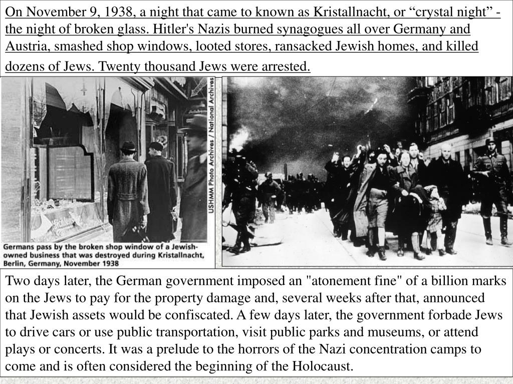 """On November 9, 1938, a night that came to known as Kristallnacht, or """"crystal night"""" - the night of broken glass."""