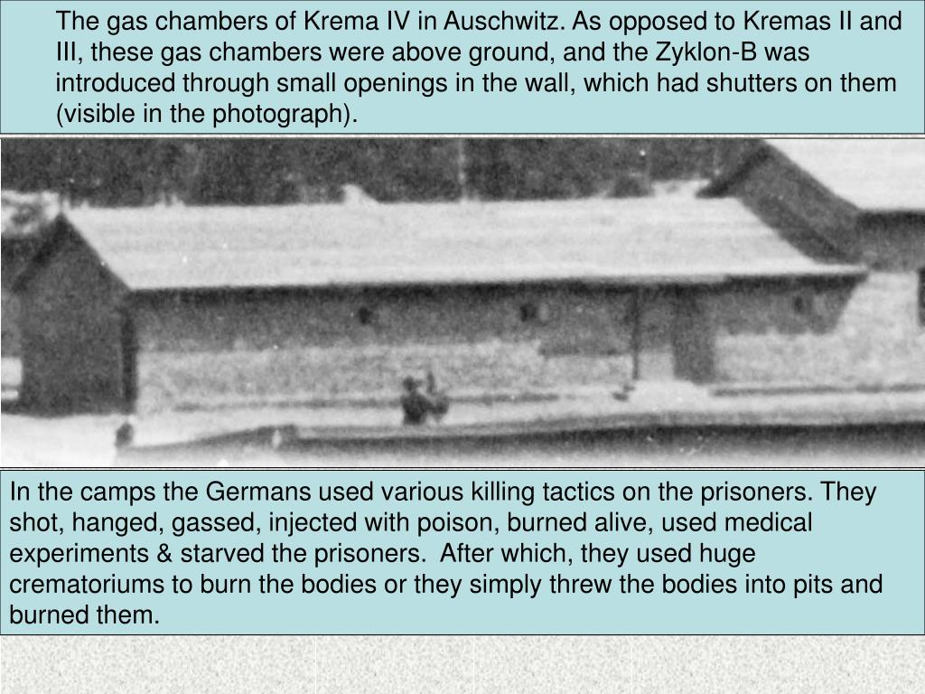The gas chambers of Krema IV in Auschwitz. As opposed to Kremas II and III, these gas chambers were above ground, and the Zyklon-B was introduced through small openings in the wall, which had shutters on them (visible in the photograph).