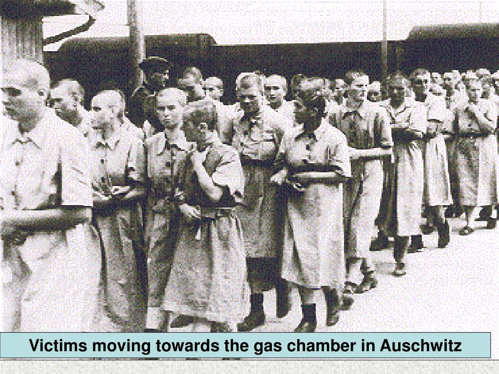 Victims moving towards the gas chamber in Auschwitz
