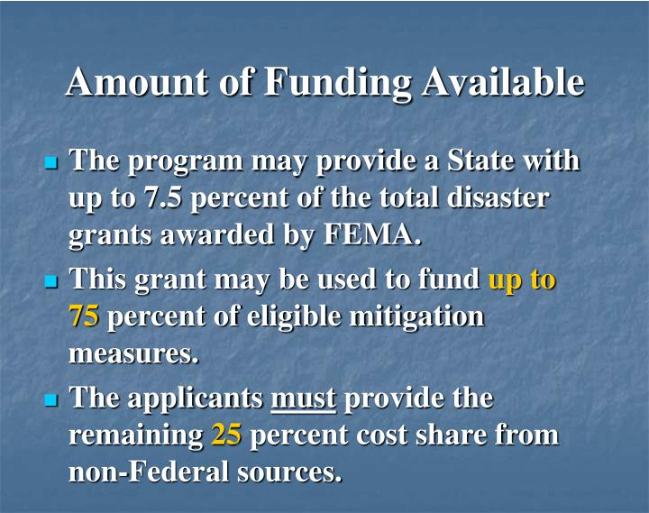 Amount of Funding Available