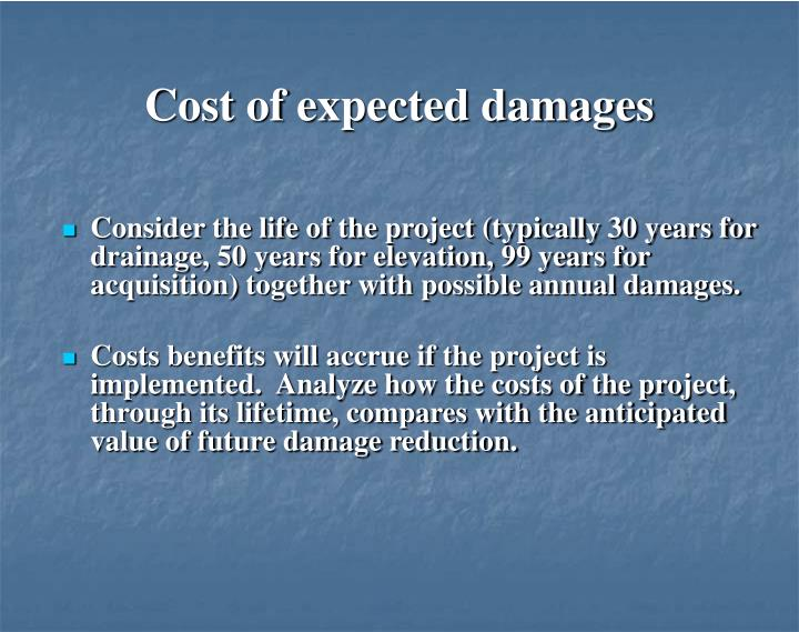 Cost of expected damages