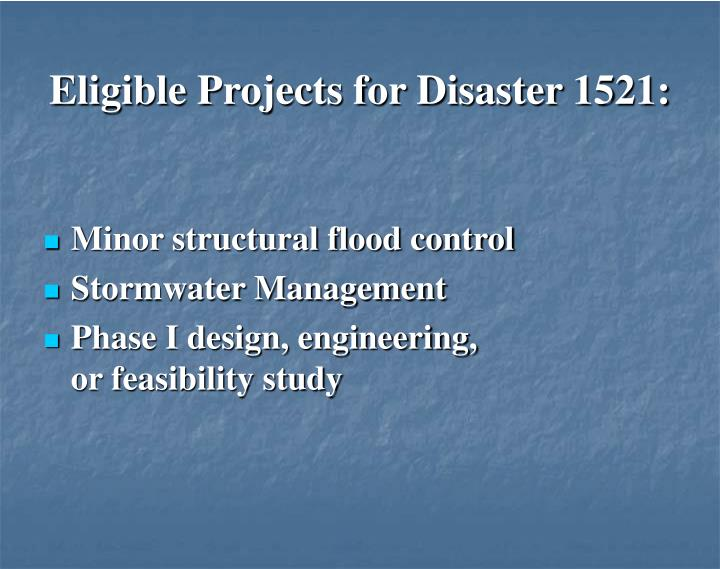 Eligible Projects for Disaster 1521: