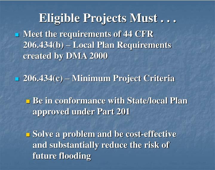 Eligible Projects Must . . .