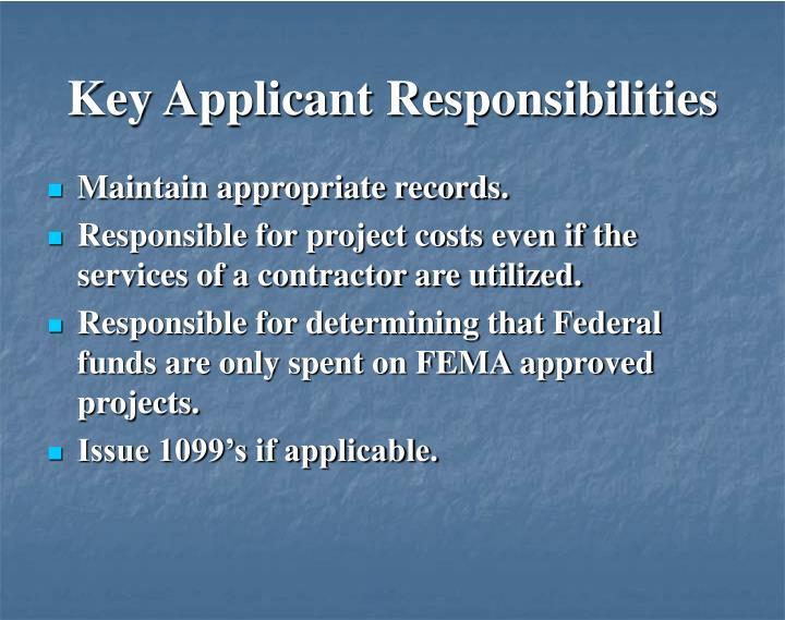 Key Applicant Responsibilities