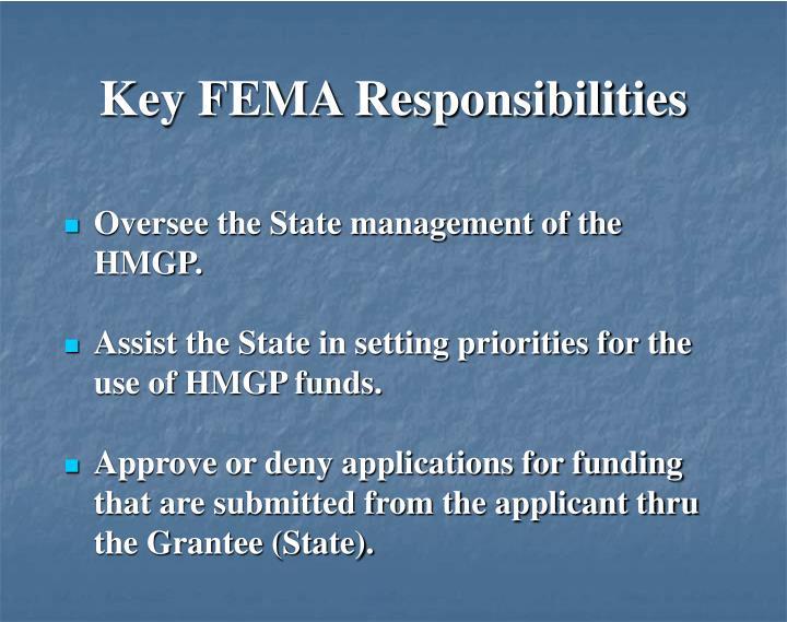 Key FEMA Responsibilities