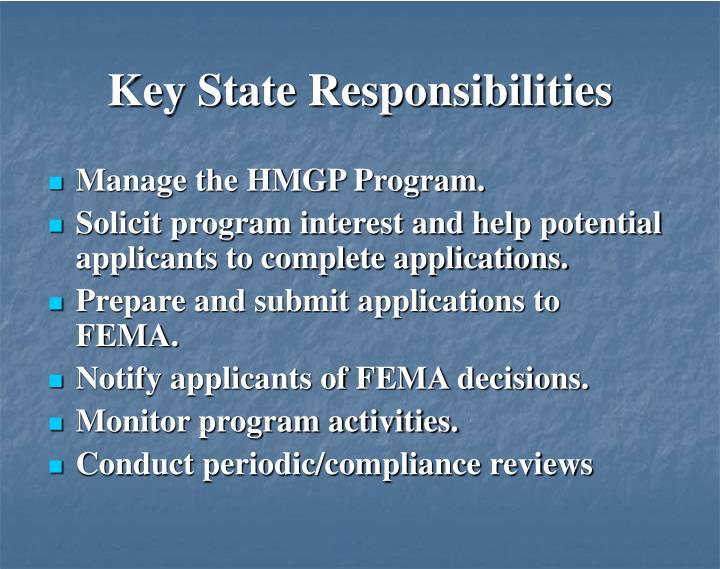 Key State Responsibilities