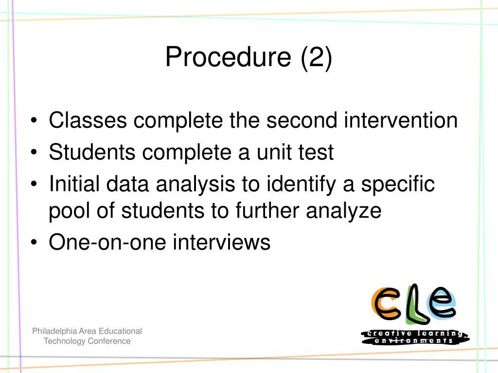 Procedure (2)