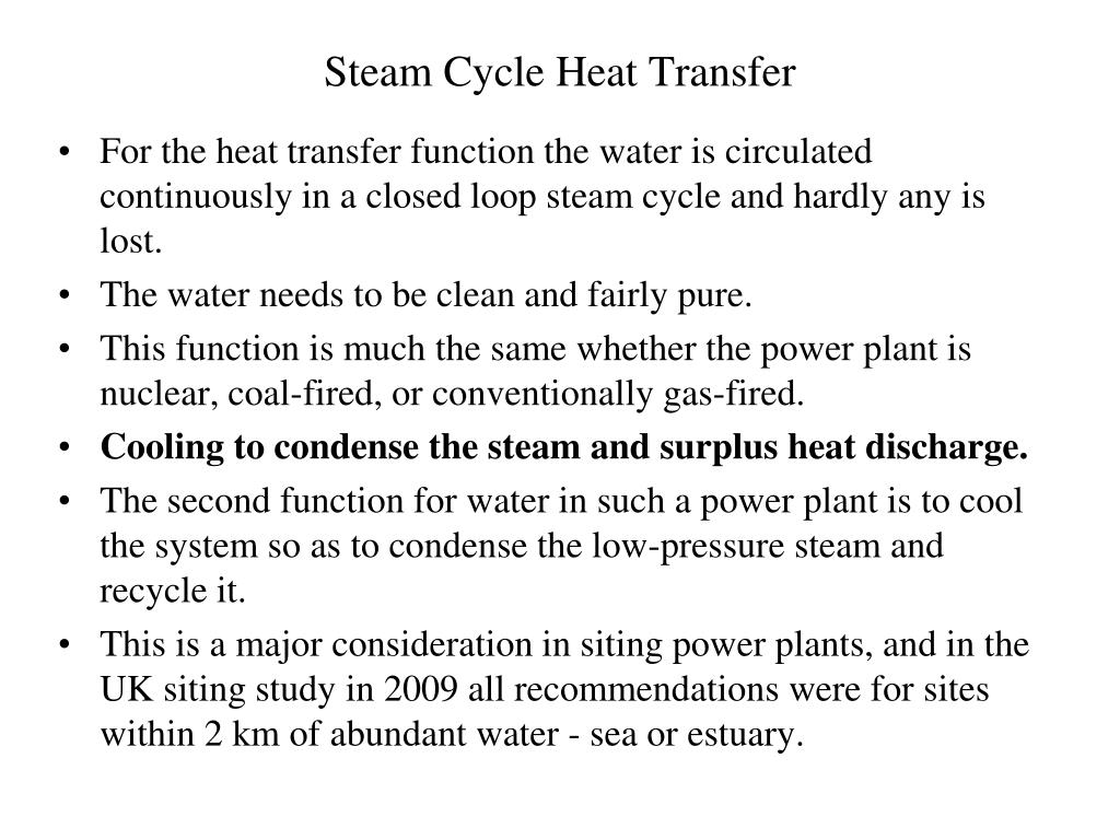 Steam Cycle Heat Transfer