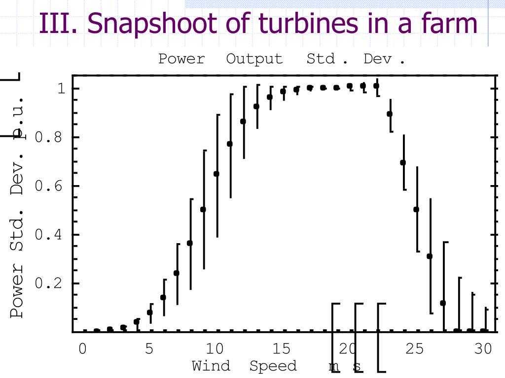 III. Snapshoot of turbines in a farm