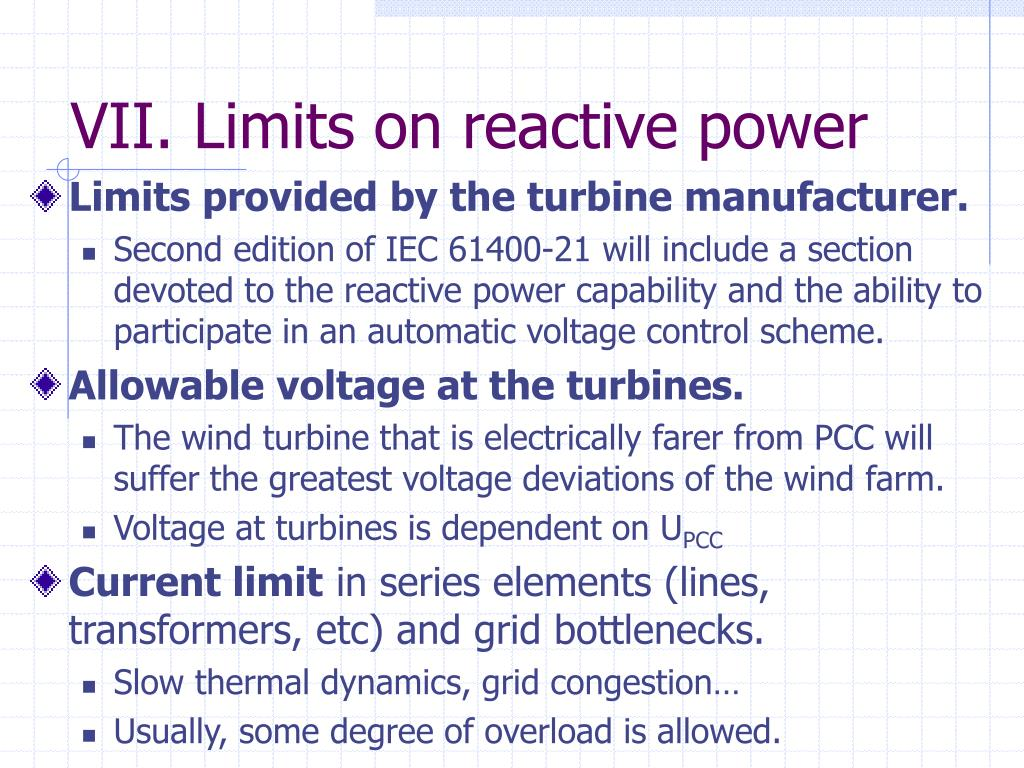 VII. Limits on reactive power