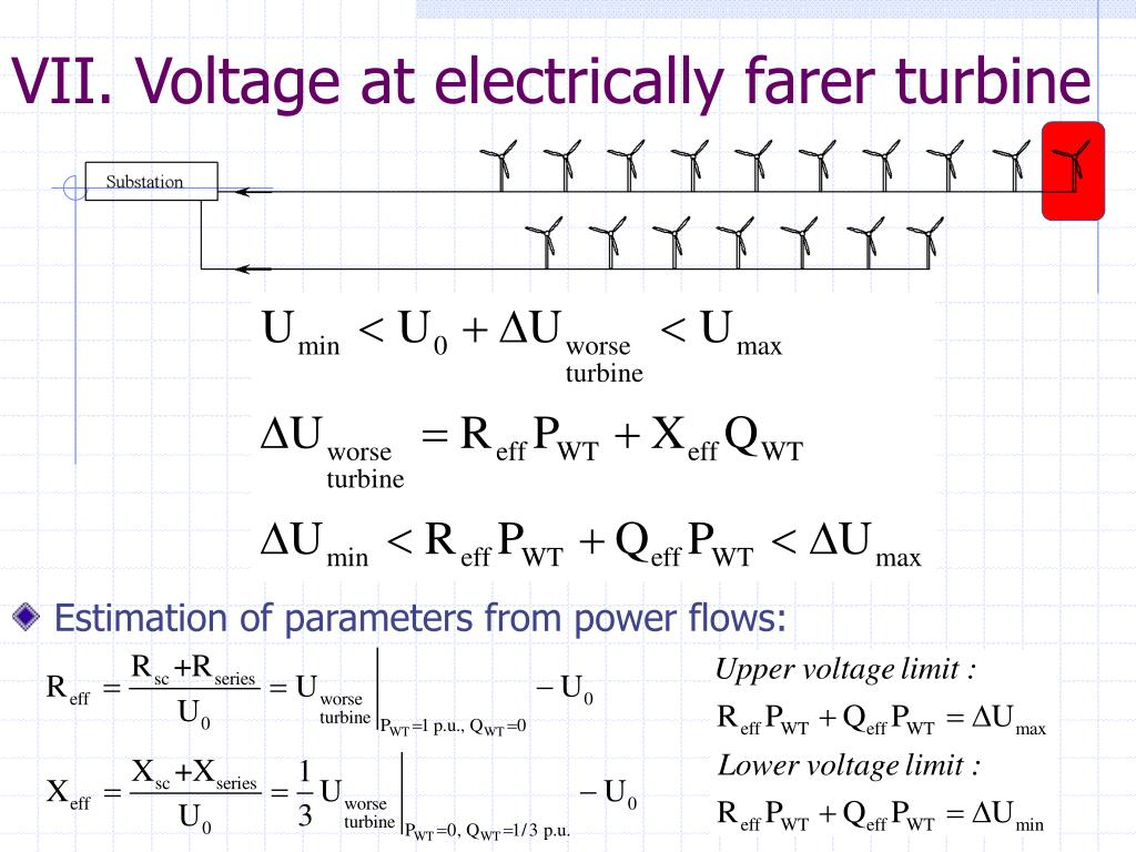VII. Voltage at electrically farer turbine
