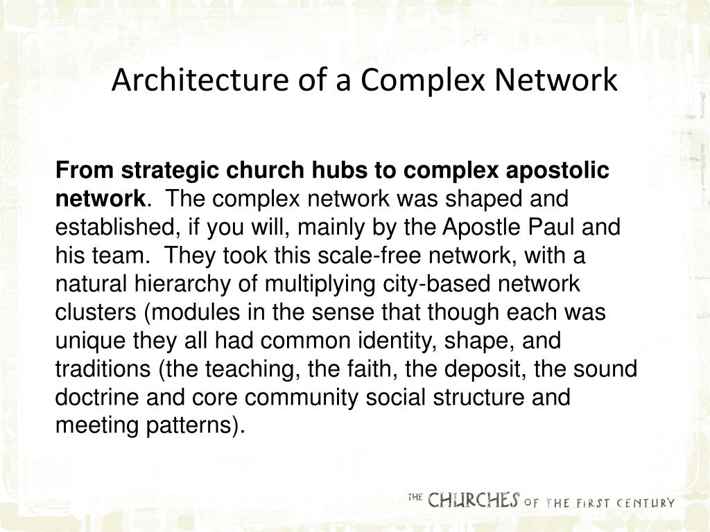 Architecture of a Complex Network