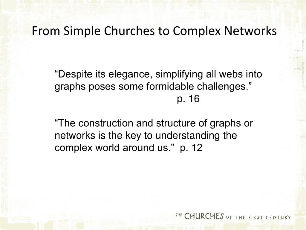 From Simple Churches to Complex Networks