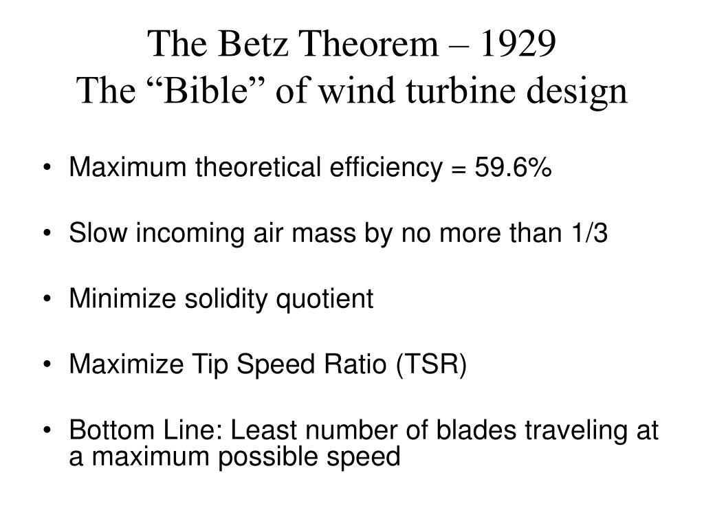 The Betz Theorem – 1929