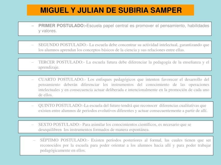 MIGUEL Y JULIAN DE SUBIRIA SAMPER