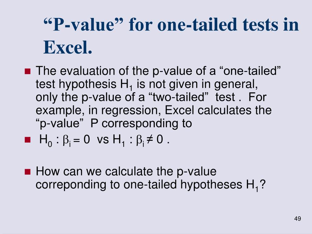 """P-value"" for one-tailed tests in Excel."