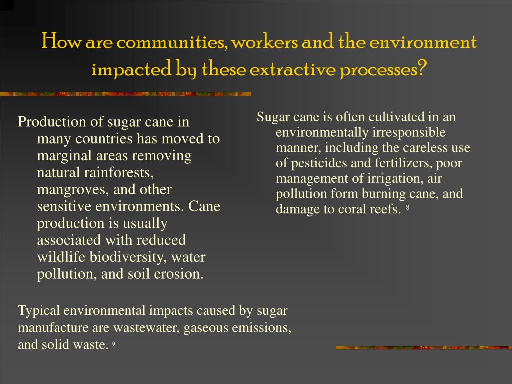 Production of sugar cane in many countries has moved to marginal areas removing natural rainforests, mangroves, and other sensitive environments. Cane production is usually associated with reduced wildlife biodiversity, water pollution, and soil erosion.