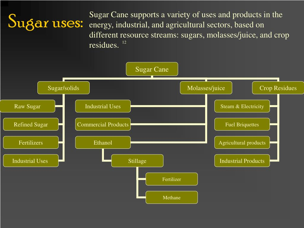 Sugar Cane supports a variety of uses and products in the energy, industrial, and agricultural sectors, based on different resource streams: sugars, molasses/juice, and crop residues.