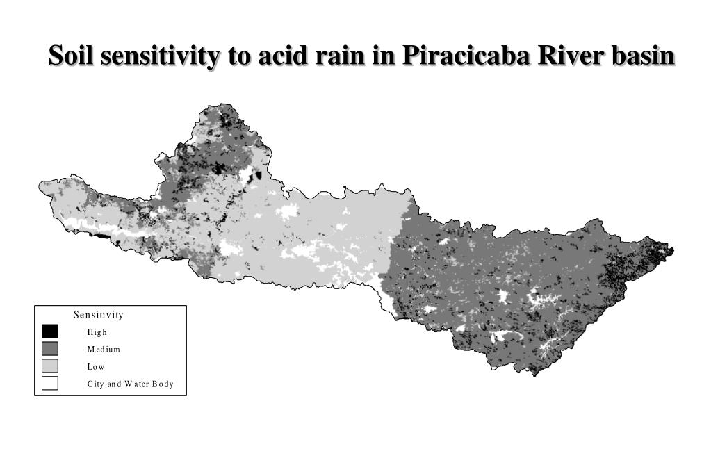 Soil sensitivity to acid rain in Piracicaba River basin