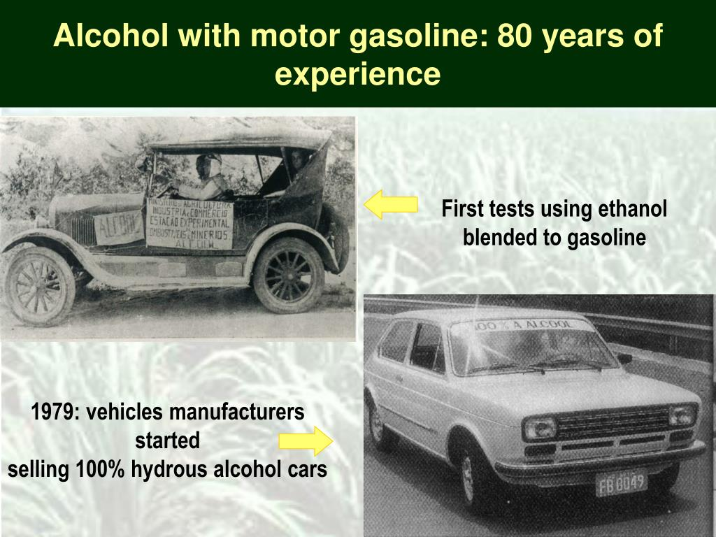 Alcohol with motor gasoline: 80 years of experience