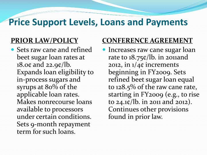 Price support levels loans and payments