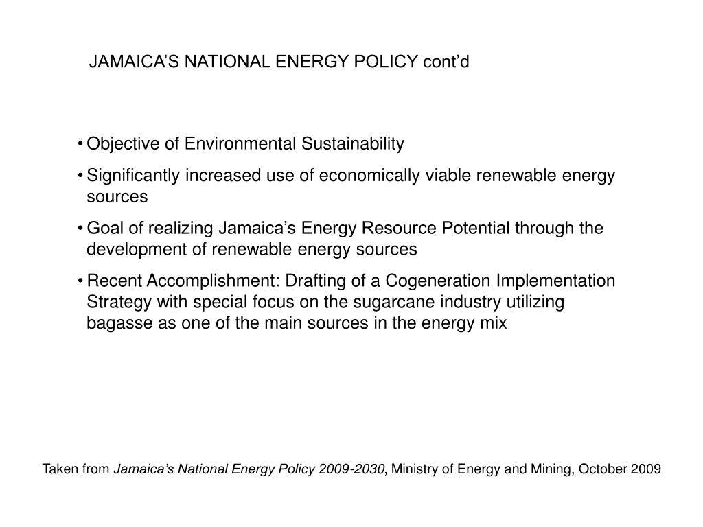 JAMAICA'S NATIONAL ENERGY POLICY cont'd