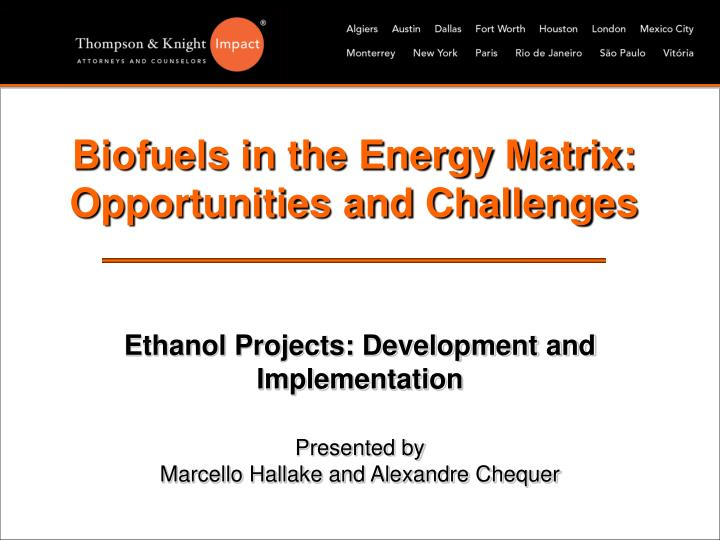 Biofuels in the energy matrix opportunities and challenges