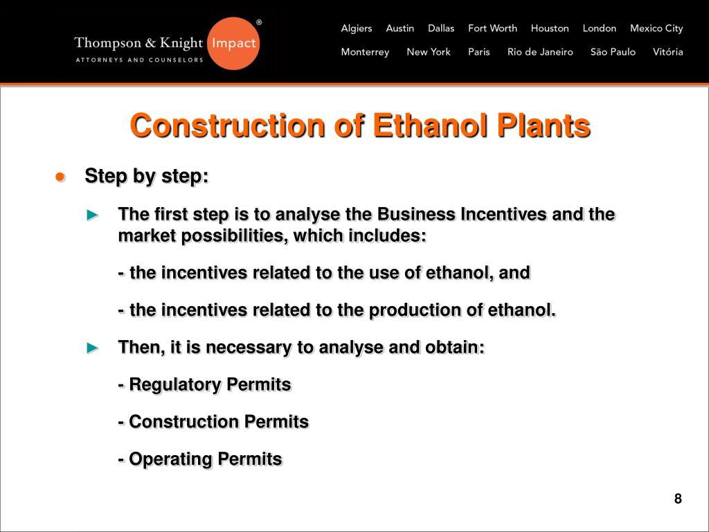 Construction of Ethanol Plants