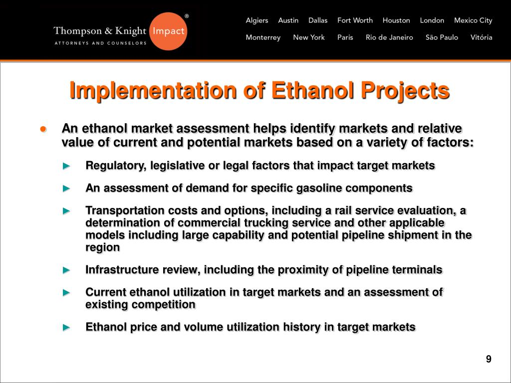 Implementation of Ethanol Projects