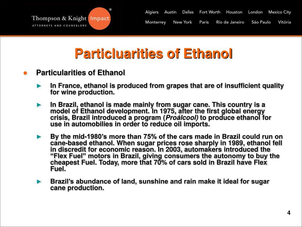 Particluarities of Ethanol