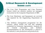 critical research development issues cont d