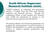 south african sugarcane research institute sasri