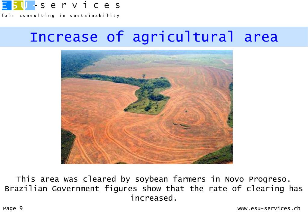 Increase of agricultural area