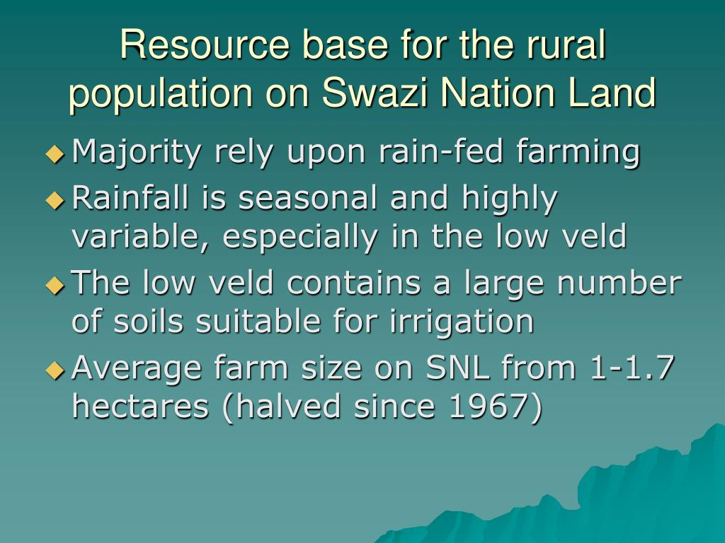 Resource base for the rural population on Swazi Nation Land