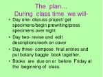 the plan during class time we will