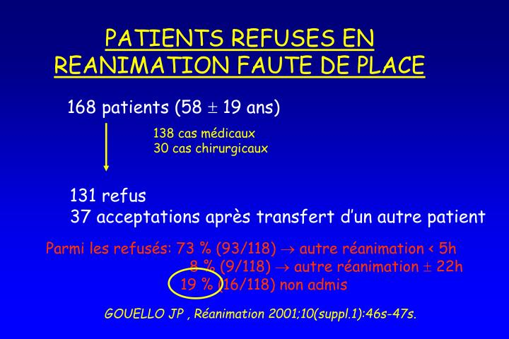 PATIENTS REFUSES EN REANIMATION FAUTE DE PLACE