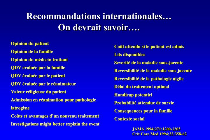 Recommandations internationales…