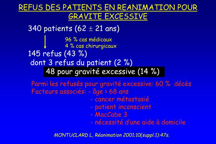 REFUS DES PATIENTS EN REANIMATION POUR GRAVITE EXCESSIVE