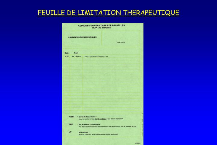 FEUILLE DE LIMITATION THERAPEUTIQUE