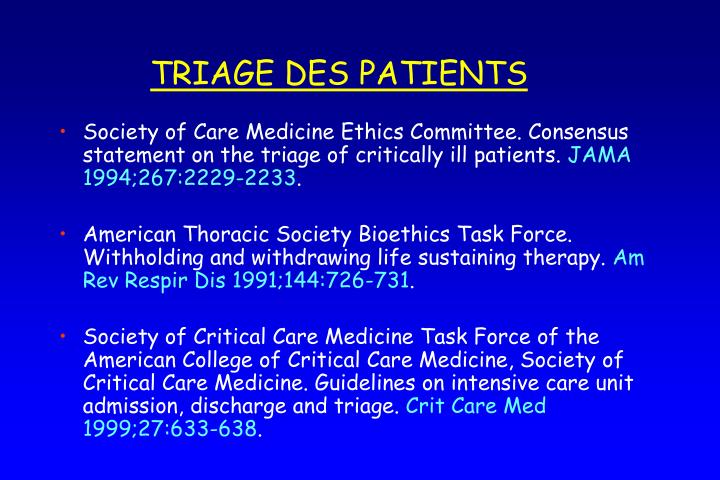 TRIAGE DES PATIENTS