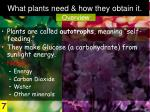 what plants need how they obtain it