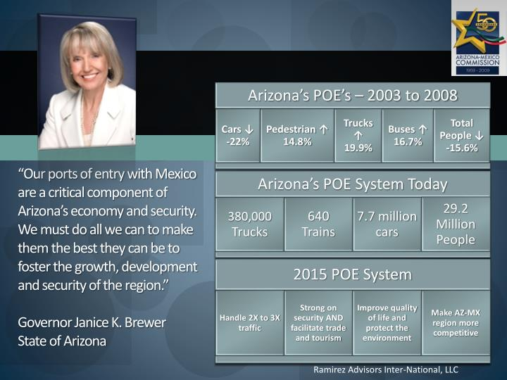 """Our ports of entry with Mexico are a critical component of Arizona's economy and security.  We ..."