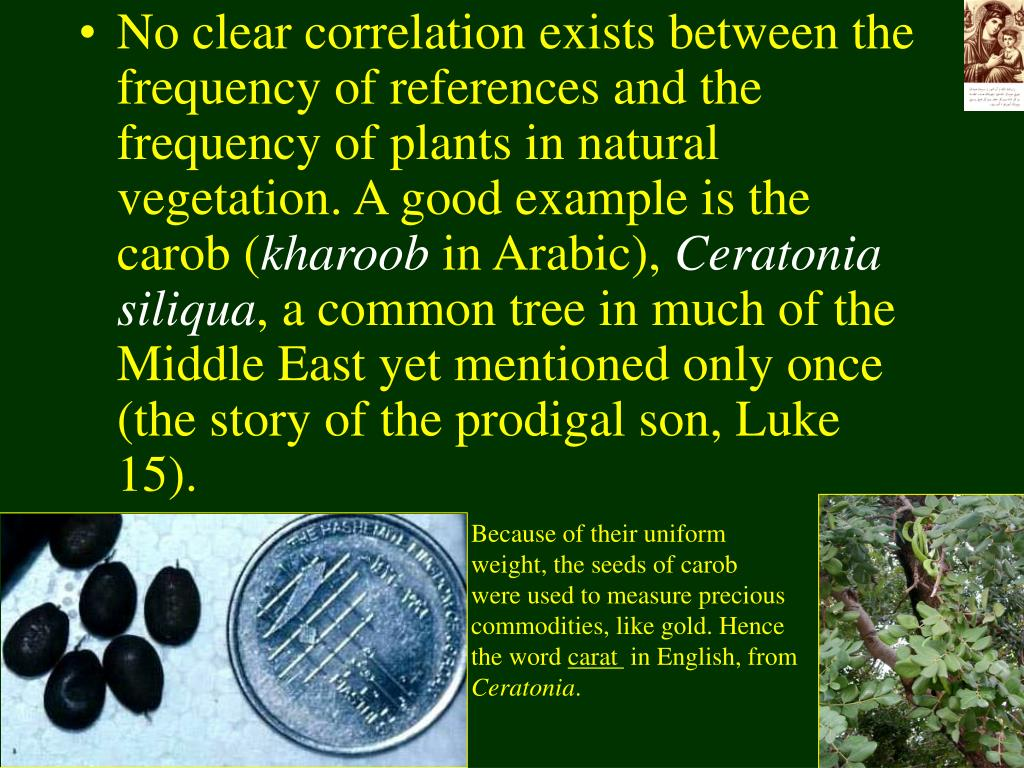 No clear correlation exists between the frequency of references and the frequency of plants in natural vegetation. A good example is the carob (
