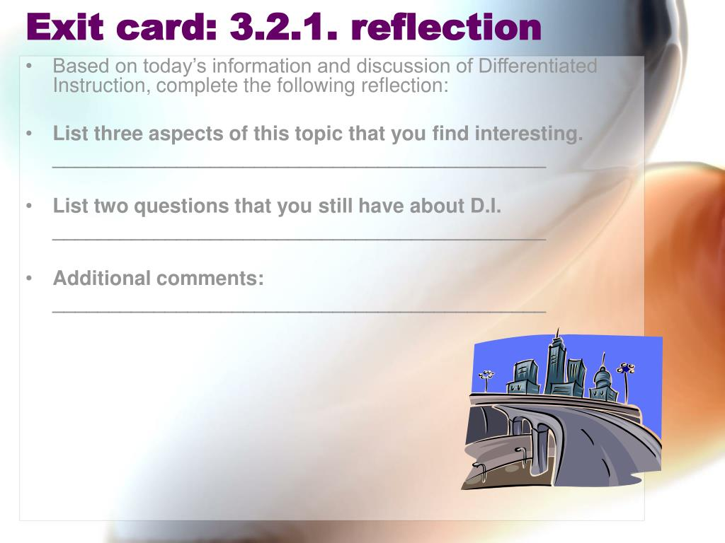 Exit card: 3.2.1. reflection