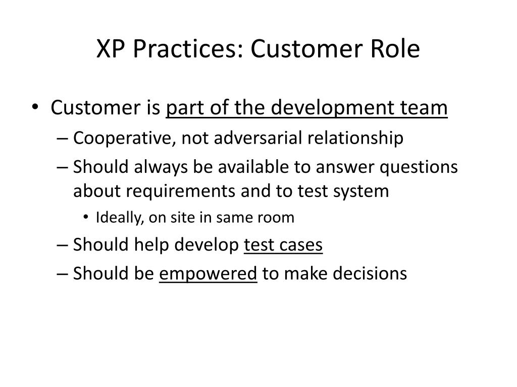 XP Practices: Customer Role