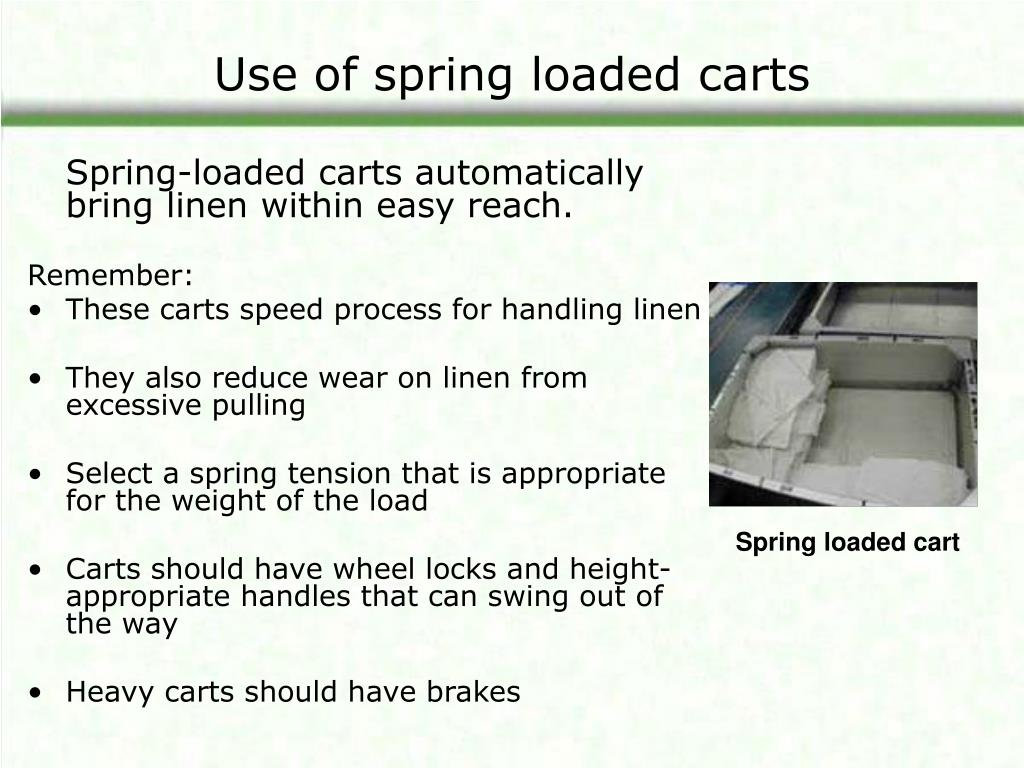 Use of spring loaded carts