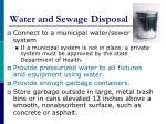 water and sewage disposal